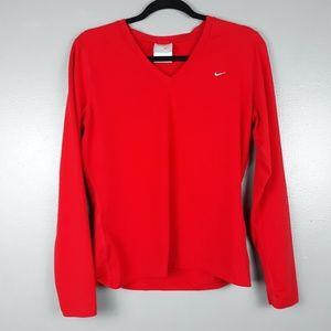 Nike long sleeve v-neck red t-shirt size large